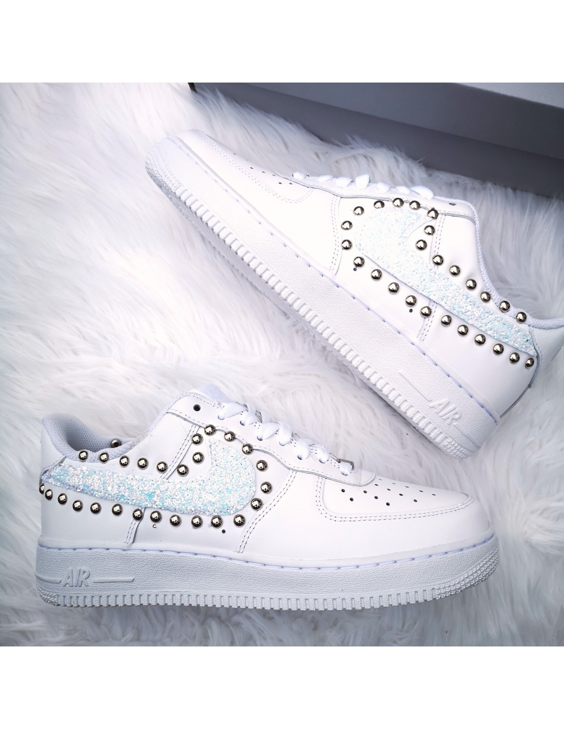 Nike Air Force One AF1 baffo Glitter Frozen e Sfere Argento