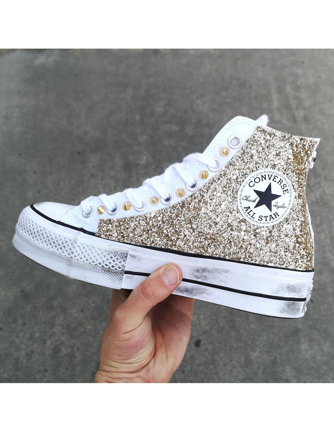 Converse AllStar Platform Bianca Glitter Oro