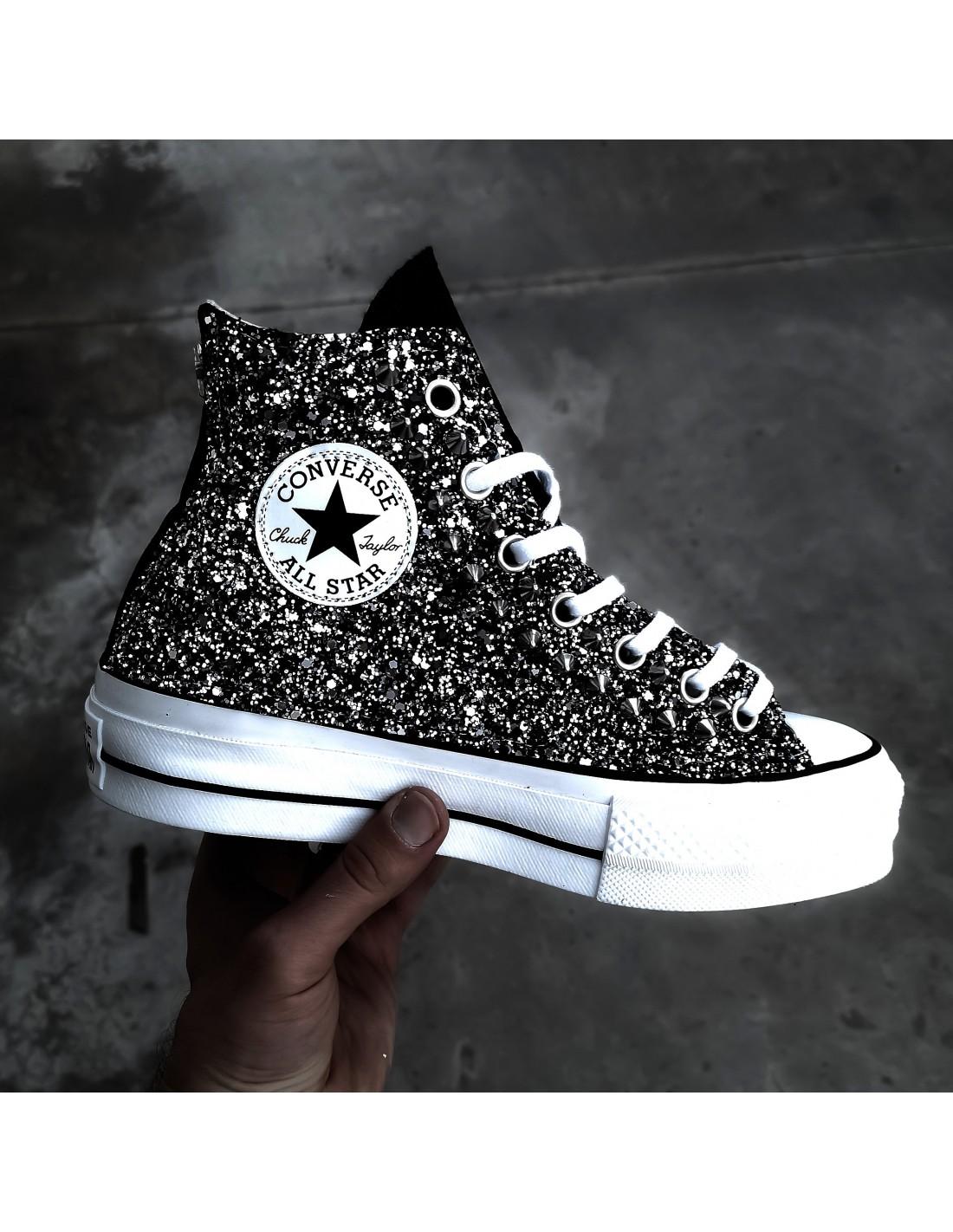 converse glitter nero