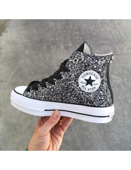 converse all star nero glitter